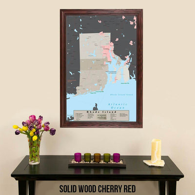 Earth Toned Rhode Island State Map Solid Wood Cherry Frame