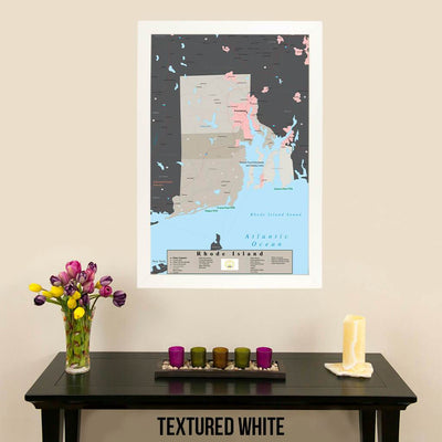 Earth Toned Rhode Island State Map Textured White Frame