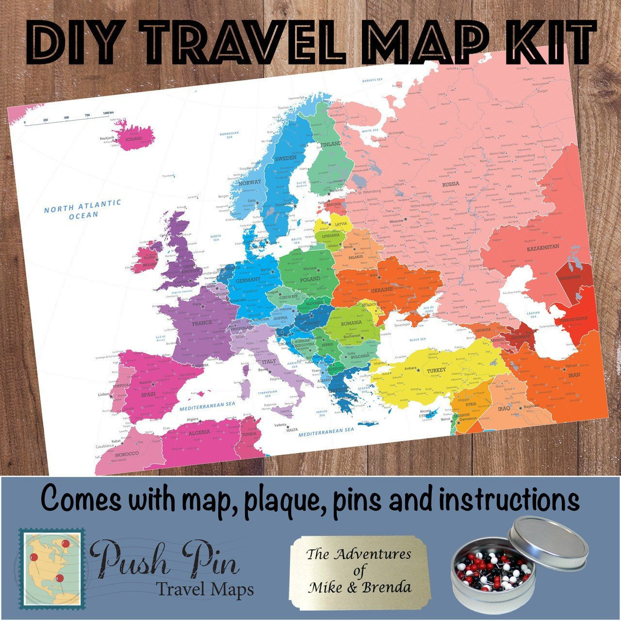 DIY Colorful Europe Push Pin Travel Map Kit
