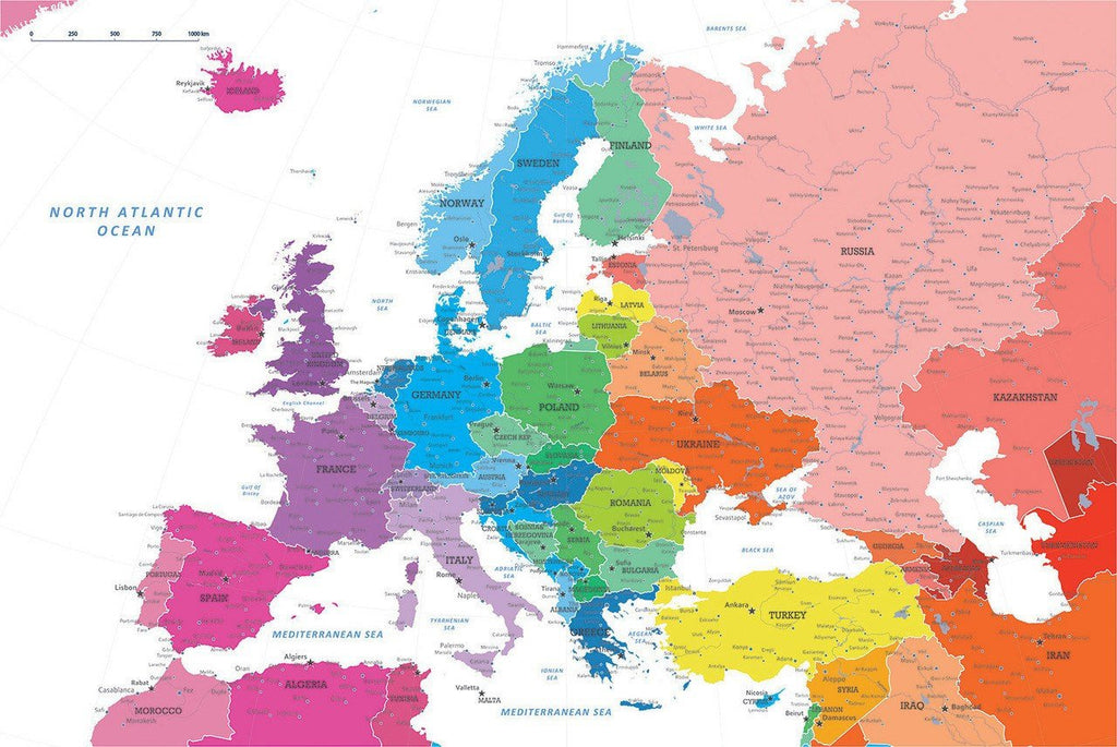 Colorful Europe Travel Map