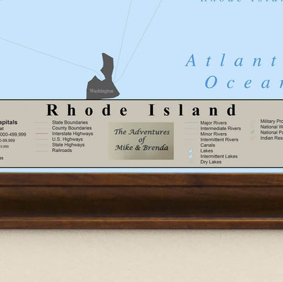 Earth Toned Rhode Island State Map Plaque Location