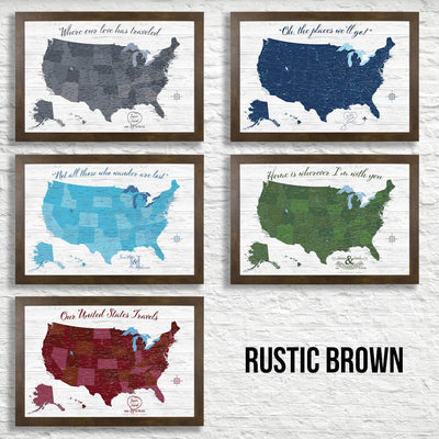 Canvas - Anniversary USA Push Pin Travel Map - Multiple Color Schemes