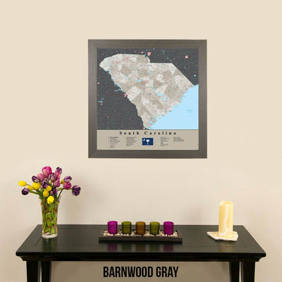 Earth Toned South Carolina State Map Barnwood Gray Frame