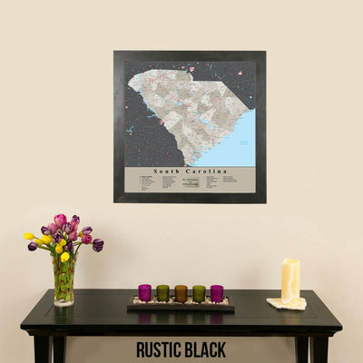 Earth Toned South Carolina State Map Rustic Black Frame