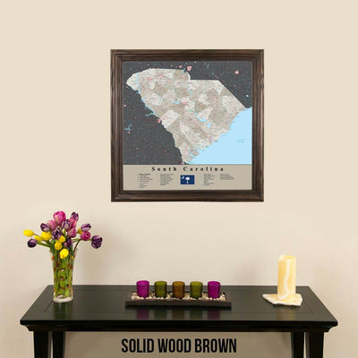 Earth Toned South Carolina State Map Solid Wood Brown Frame