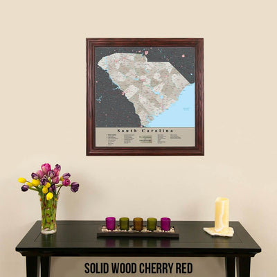 Earth Toned South Carolina State Map Solid Wood Cherry Frame
