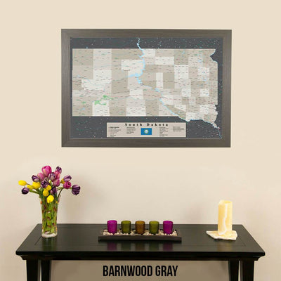 Earth Toned South Dakota Framed Pin Map Barnwood Gray Frame
