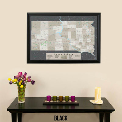 Earth Toned South Dakota Framed Pin Map Black Frame