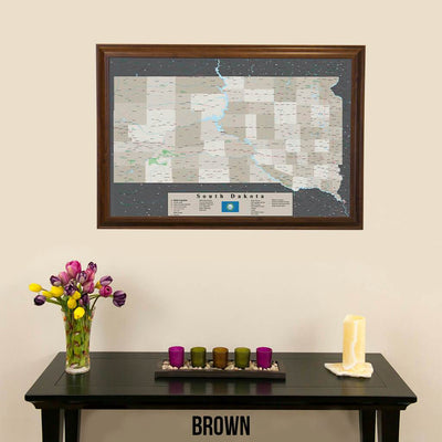 Earth Toned South Dakota Framed Pin Map Brown Frame