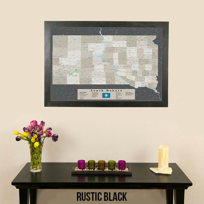 Earth Toned South Dakota Framed Pin Map Rustic Black Frame