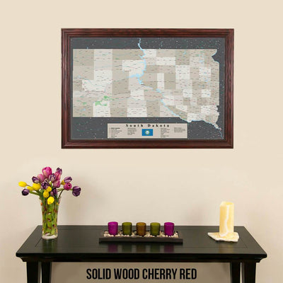 Earth Toned South Dakota Framed Pin Map Solid Wood Cherry Frame