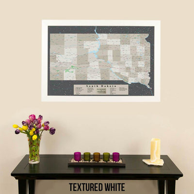 Earth Toned South Dakota Framed Pin Map Textured White Frame