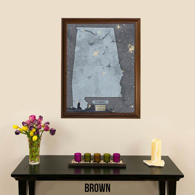 Push Pin Travel Maps Framed Alabama Slate Wall Map with Pins Brown Frame