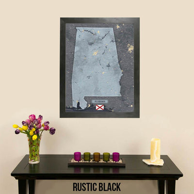 Push Pin Travel Maps Framed Alabama Slate Wall Map with Pins in Rustic Black Frame