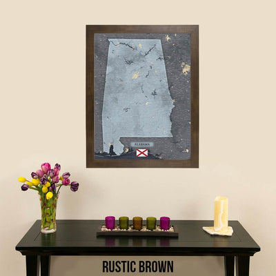 Push Pin Travel Maps Framed Alabama Slate Wall Map with Pins in Rustic Brown Frame