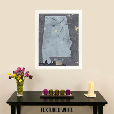 Push Pin Travel Maps Framed Alabama Slate Wall Map with Pins Textured White Frame