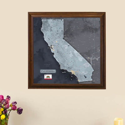 Push Pin Travel Maps California Slate Colored State Map with pins Main Image