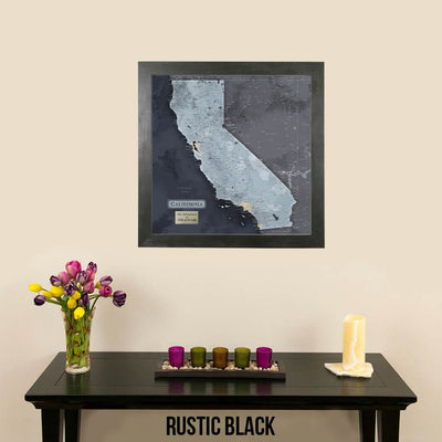 California Slate Colored Map with Rustic Black Frame and Pins