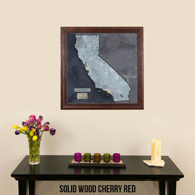 Push Pin Travel Maps California Slate Map with pins Solid Wood Cherry Frame