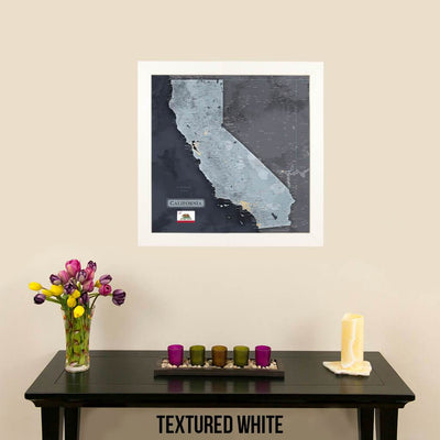 Push Pin Travel Maps California Slate Map with Modern Textured White Frame and Pins