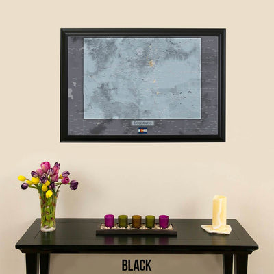 Push Pin Travel Maps Colorado Slate Map with pins Black Frame