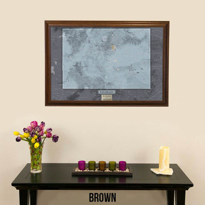 Push Pin Travel Maps Colorado Slate Map in Elegant Brown Frame
