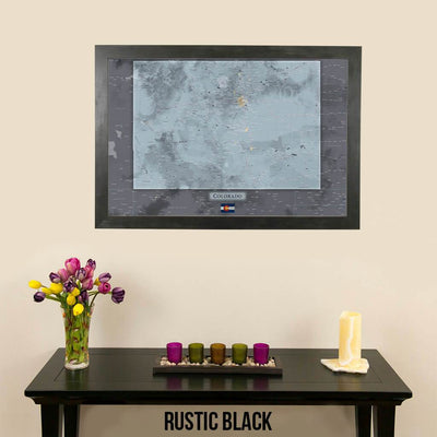 Push Pin Travel Maps Colorado Slate Map Rustic Black Frame