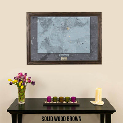 Push Pin Travel Maps Colorado Slate Map with pins Solid Wood Brown Frame