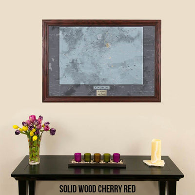 Push Pin Travel Maps Colorado Slate Map Solid Wood Cherry Frame