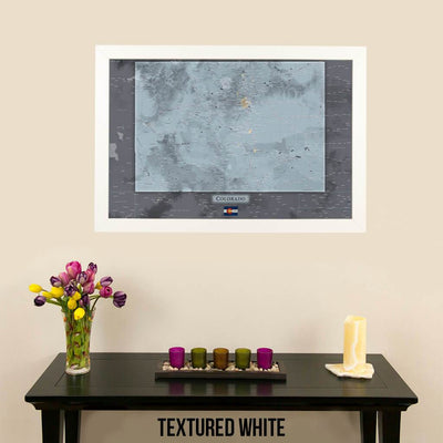 Push Pin Travel Maps Colorado Slate Map Contemporary Textured White Frame