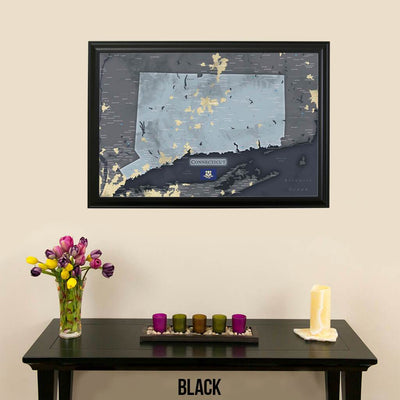 Connecticut Slate Pinboard Map with Pins Black Frame