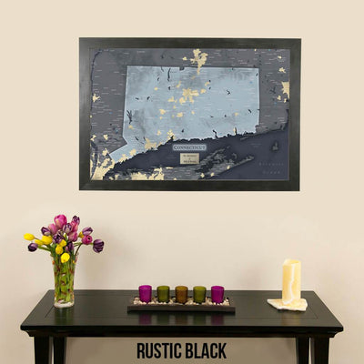 Push Pin Travel Maps Connecticut Slate Wall Map Rustic Black Frame