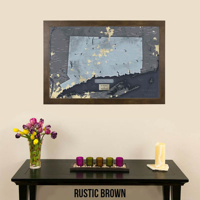 Push Pin Travel Maps Connecticut Slate Wall Map Rustic Brown Frame
