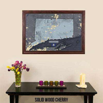 Push Pin Travel Maps Connecticut Slate Wall Map Solid Wood Cherry Frame