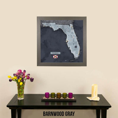 Push Pin Travel Maps Florida Slate Map Barnwood Gray Frame