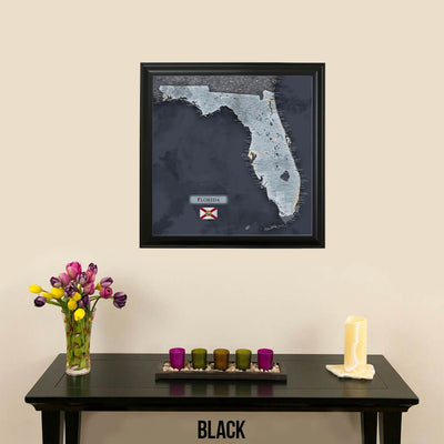 Push Pin Travel Maps Florida Slate Map Black Frame