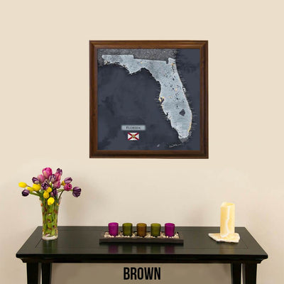 Push Pin Travel Maps Florida Slate Map Brown Frame
