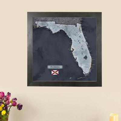 Push Pin Travel Maps Florida State Slate Colored Map with pins Main Image