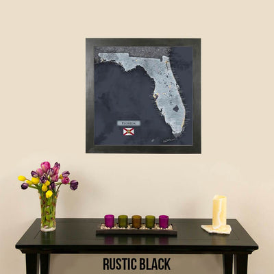Push Pin Travel Maps Florida Slate Map Rustic Black Frame