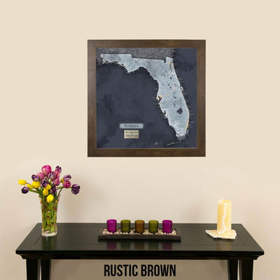 Push Pin Travel Maps Florida Slate Map Rustic Brown Attractive Modern Frame