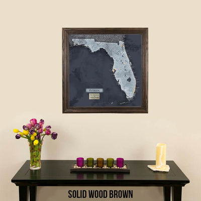 Push Pin Travel Maps Florida Slate Map Solid Wood Brown Frame