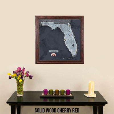 Push Pin Travel Maps Florida Slate Map in Elegant Solid Wood Cherry Frame