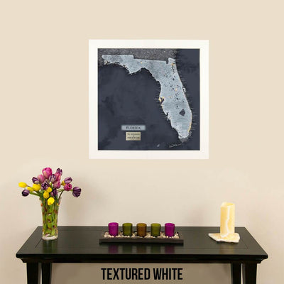 Push Pin Travel Maps Florida Slate Map Textured White Frame