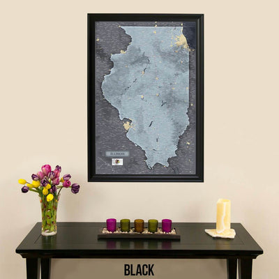 Push Pin Travel Maps Illinois Slate Map with Pins Black Frame
