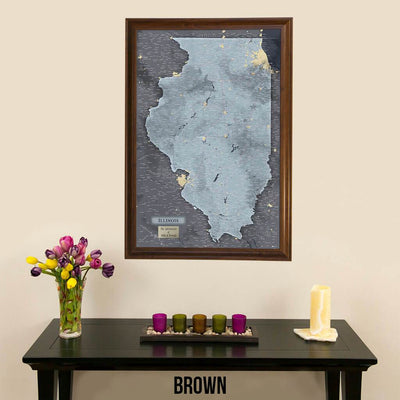 Push Pin Travel Maps Illinois Slate Map with Pins Brown Frame