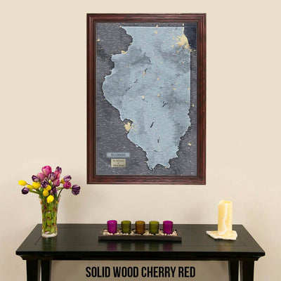 Push Pin Travel Maps Illinois Slate Map in Solid Wood Cherry Frame