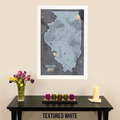 Push Pin Travel Maps Illinois Slate Map Textured White Frame