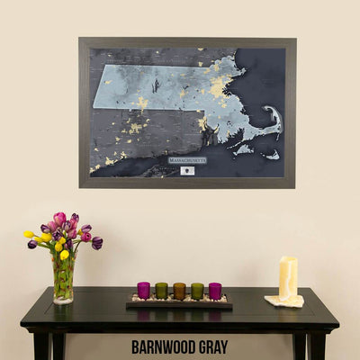 Push Pin Travel Maps Slate Gray Massachusetts Pin Map with Pins Barnwood Gray Frame