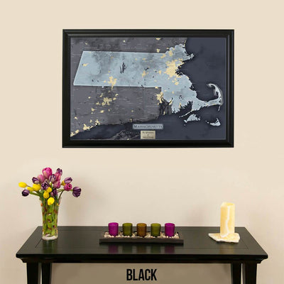 Push Pin Travel Maps Slate Gray Massachusetts Pin Map with Pins Black Frame