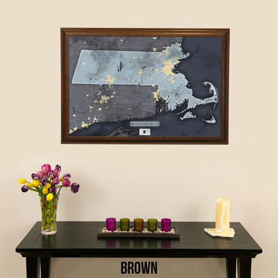 Push Pin Travel Maps Slate Gray Massachusetts Pin Map with Pins Brown Frame